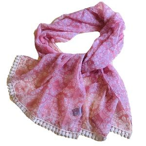 Indian Scarf Lace Trimmed Chiffon Women's One Size